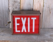 Vintage Electric Red Exit Sign in Metal Box