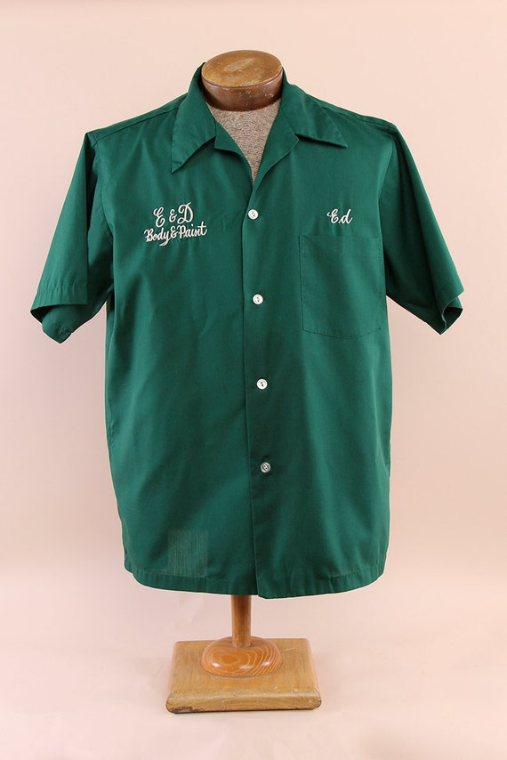 Men's Green Vintage Bowling Shirt with Embroidery Ed Size M