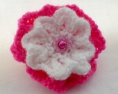 Beautiful hand knitted brooch (Cerise and white)