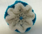 Beautiful hand knitted brooch (Teal and cream)