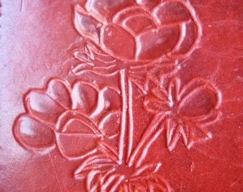 Carved Leather Vintage Eye Glass / Sun Glass Case, Distressed, Floral / Initials BW