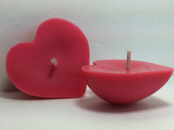 3 Pink Heart Soy Pear Berry Floating Candles
