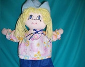"Handmade Cowgirl Doll with Hand-Sewn Outfit  about 16"" tall"