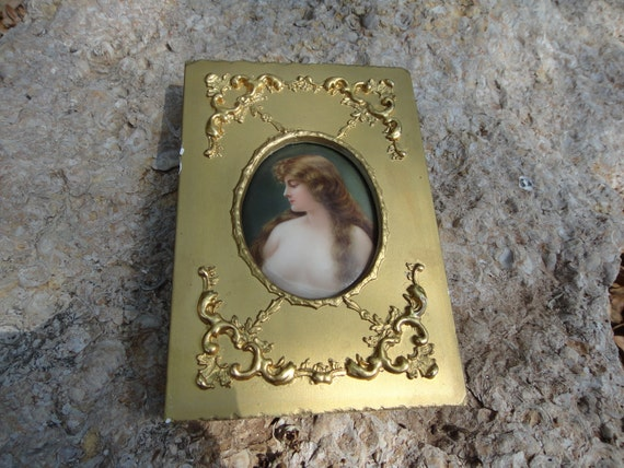 Special listing for Elena Vatsadze Framed Porcelain Handpainted Cameo in Gold Frame