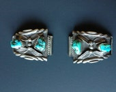 Native American Silver and Turquoise Watch Band Ends