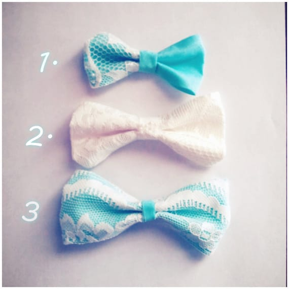 3 set Lace Teal and White Hime Inspired Bows