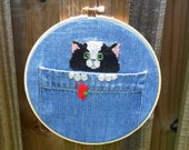Hoop Art Cat black and white pocket denim by All that is Counted on Upcycle Fever