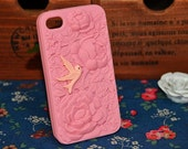 beautyful peach flower Soft Case for Apple iPhone 4 Case, iPhone 4s Case, iPhone 4 Hard Case, iPhone Case, with a cute bird