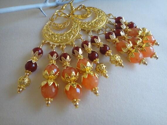 Sahrawi:  Chandelier Earrings - Rare Peach Morganite &  Red Agate