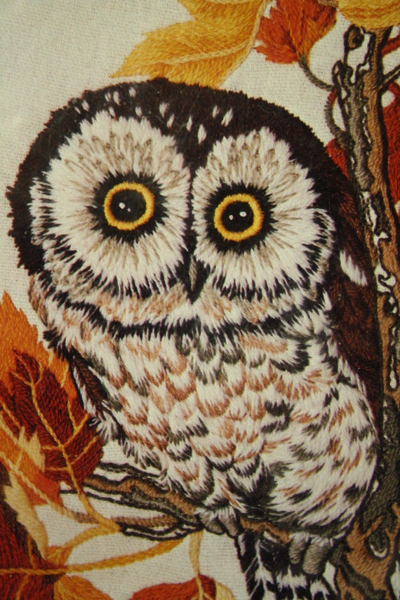Vintage Owl Crewel Embroidery Picture Kit 70s Dimensions Owl in Maple Tree - Large 16 x 20 Woodland Wall Art