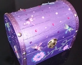 Purple and Pink Mini Trunk with Dragonfly and Floral Design