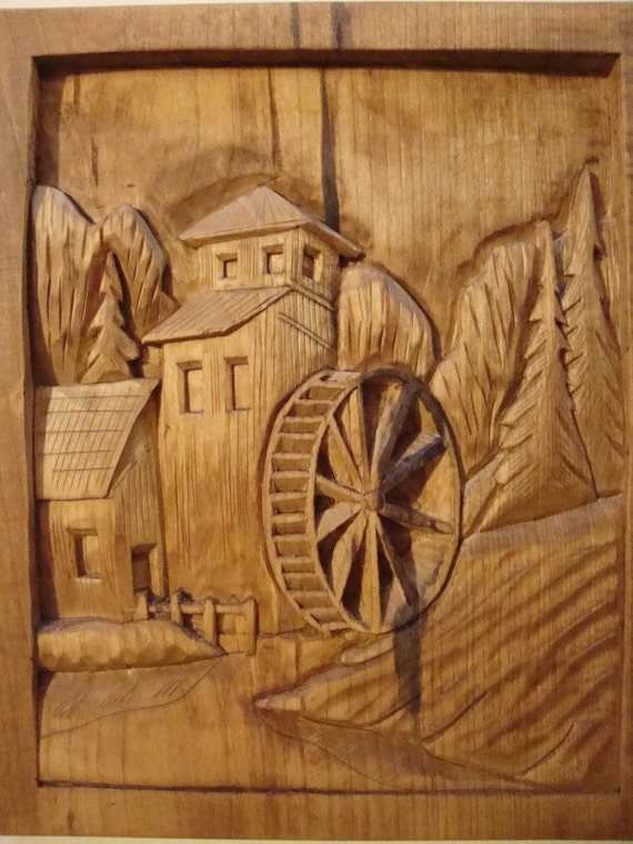Items similar to country mill and water wheel hand carved