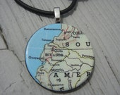 Vintage Map Pendant South American Ecuador Quito Ibarra map necklace map jewelry map art loft197