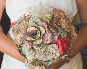 Mixed media & paper flower bridal bouquet
