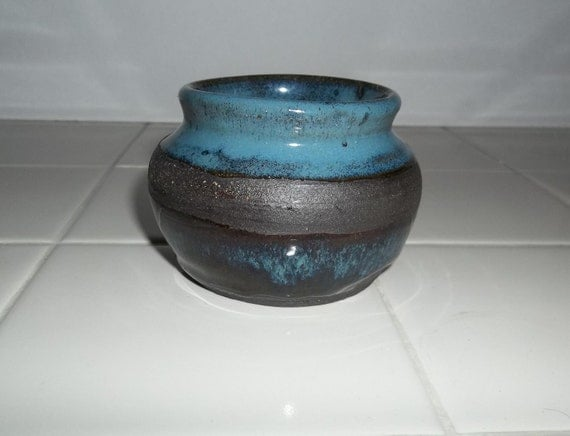 Small Asian Inspired Blue and Black Ceramic Pot