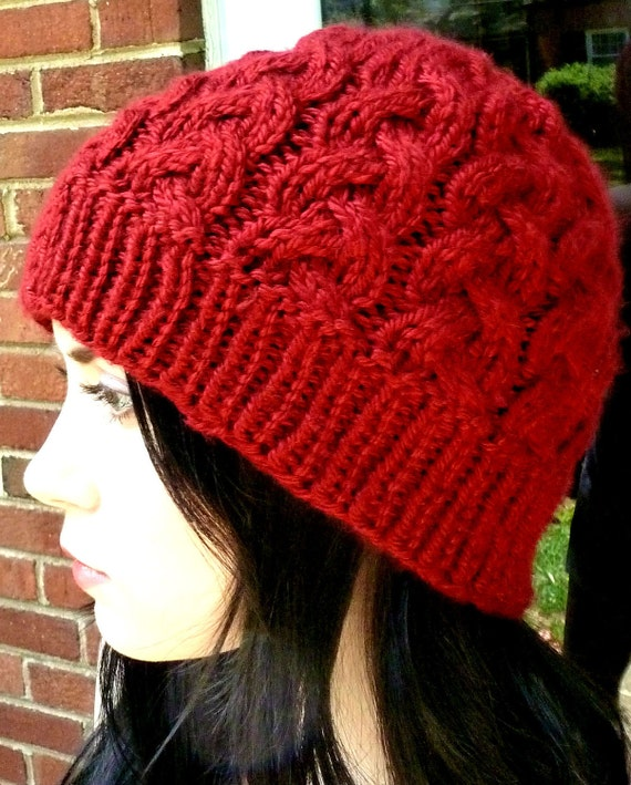Red Knitted Braid Cable Cranberry Hat Fall/Winter Unisex