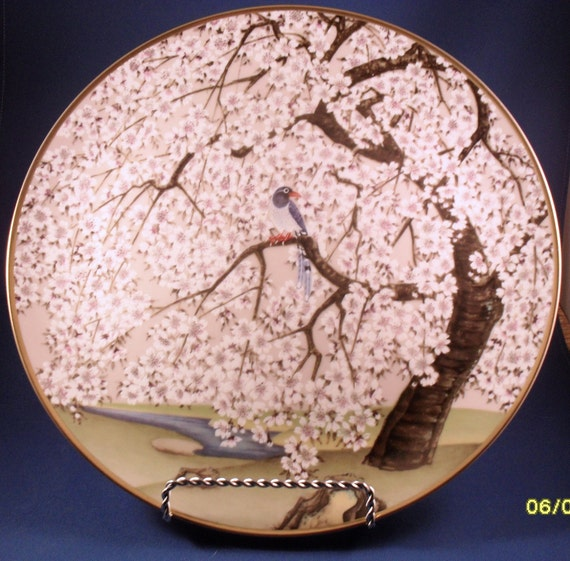 Chinese Blue Pie and Cherry Collector's Plate from Birds and Flowers of the Orient Series