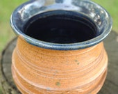 Handmade Stoneware Vase with Thick Carved Rings