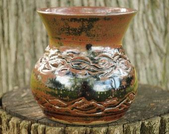 Small Handmade Stoneware Vase with Carved Braids - Temoku Glaze