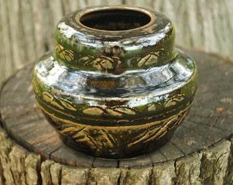 Small Handmade Stoneware Vase with Carved Braids - Amber Celadon Glaze