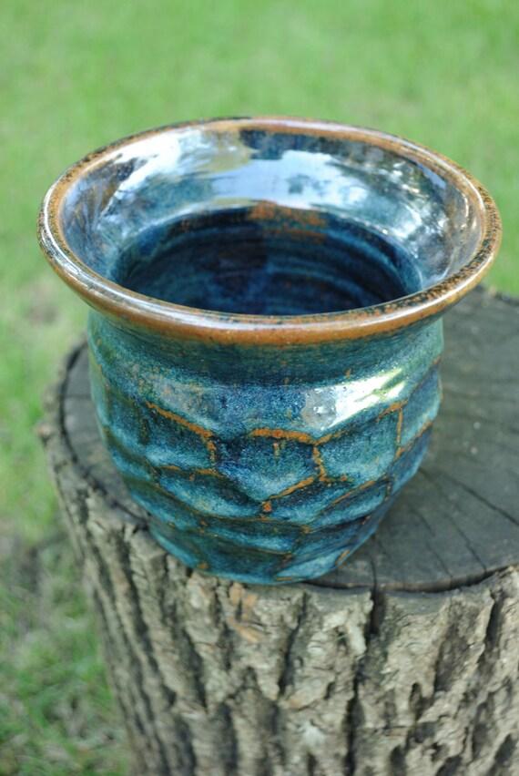 Honeycomb Faceted Stoneware Vase - Woo Blue Brown Glaze