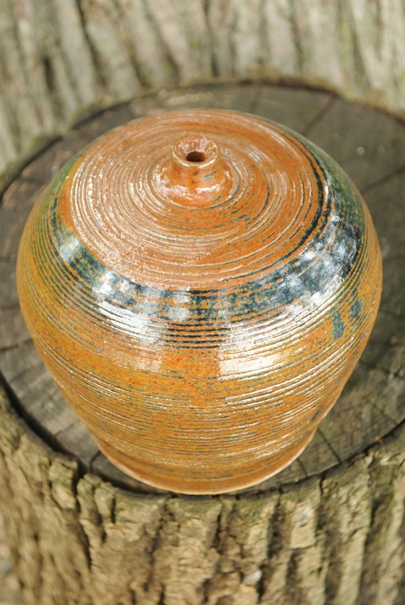 Round Handmade Stoneware Bottle with Grooves - Woo Blue Brown Glaze