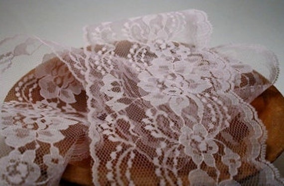 "Light Pink Floral Lace 4"" - 2 yard"