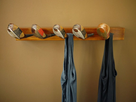 Recycled Golf Club Coat Rack, Wooden Wall Mounted Hook