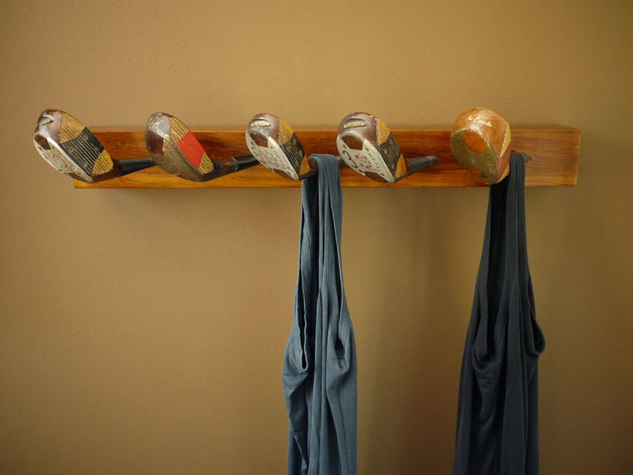 Recycled golf club coat rack wooden wall mounted hook for Ways to hang hats on wall