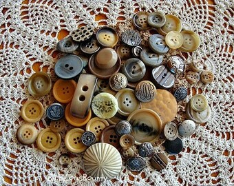 Vintage Buttons Various Sizes and Materials