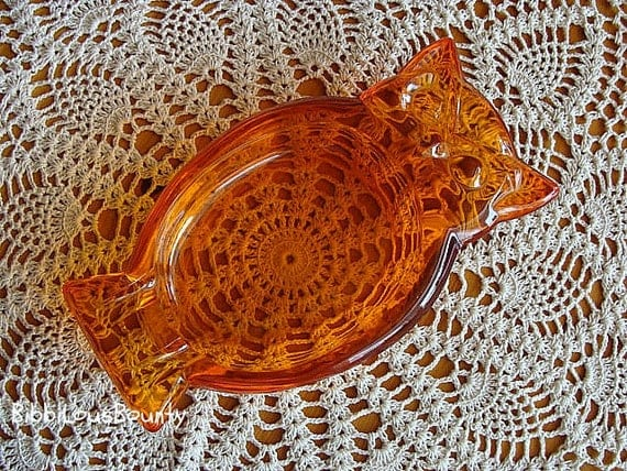 Vintage Orange Owl Ashtray 1970's