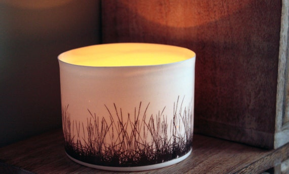 English fine white bone china vessel or tea light holder in stoneware with black grass motif.