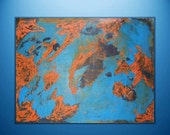 "Abstract Painting ""Stop Drilling Me"" - Original Art from Ease the Soul Artworks by Jackson P- 30 x 40 - blue - brown - orange - tan"