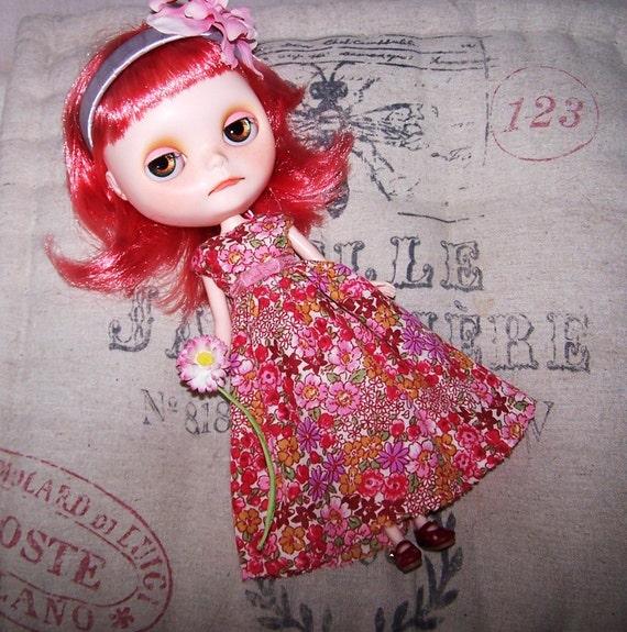 Blythe Spring Flowers Dress - Pink, Red, Floral, Long Dress, Summer, Girly, Feminine.