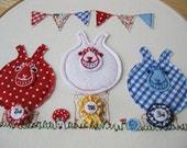 Embroidery Hoop Art 'Best In Show' Retro Style Chic, Children's Room, Nursery, Summer Decor, Patriotic Jubilee Chic.