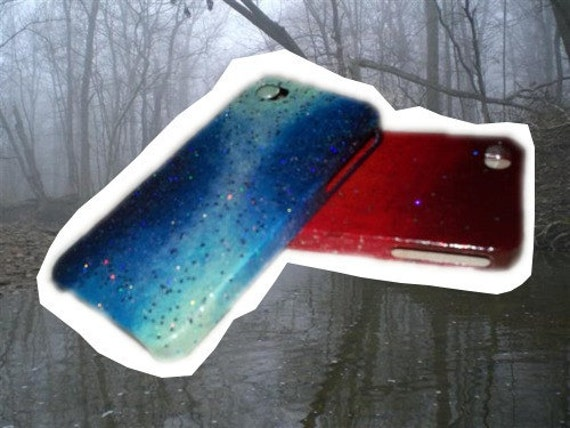 Galaxy iPhone 4 Case - Blue Hand Painted