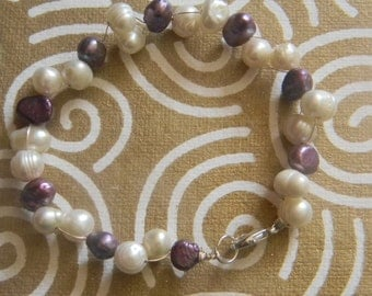 Ivory and Purple freshwater pearls 8-9 mm