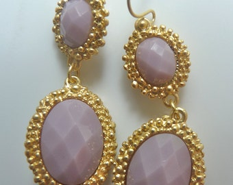 Lilac Lavender Purple Gold Bezel Dangle Drop Filigree Earrings. Jewelry Gifts For Her. 71