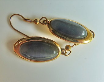 Oval Denim Glass Bezeled Dangle Earrings. 14