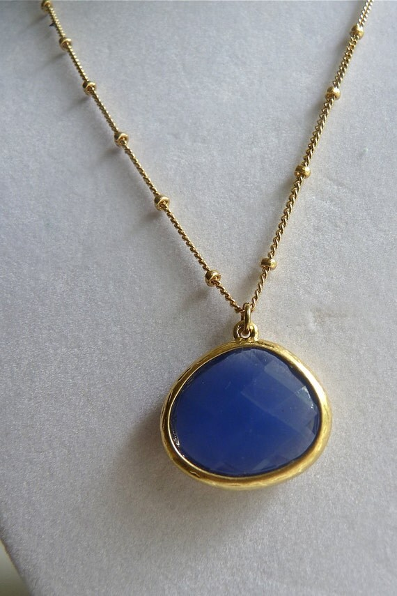 Ocean Royal Blue Faceted Jewel Necklace on Golden Saturn Chain.  Sierra Leone.