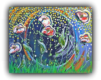 """High Quality Prints of Original Painting for Sale, Signed by Artist, """"Poppies Dancing Behind the Moon"""""""