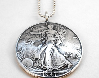 1943 Walking Liberty Silver Half Dollar Coin Pendant Necklace