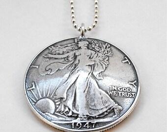 1947 Walking Liberty Silver Half Dollar Coin Pendant Necklace