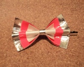 Duct tape bow - pink, silver, white