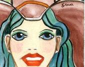 Cowgirl western art portrait Sienna ACEO cowboy hat