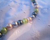 Black, Pink, Purple, and Green Glass Pearl Bracelet, black pearls, pink pearls, purple pearls, green pearls, pearl bracelet, multicolored