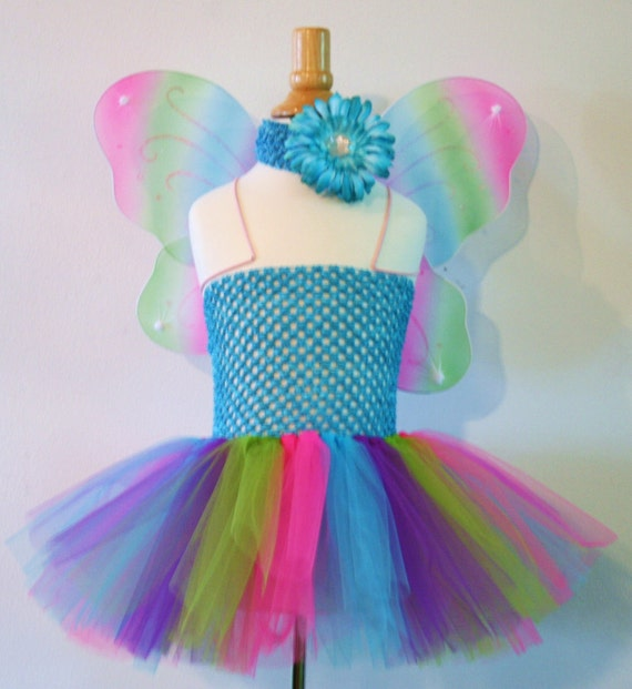 Baby girls Butterfly tutu dress - Pick size and flower