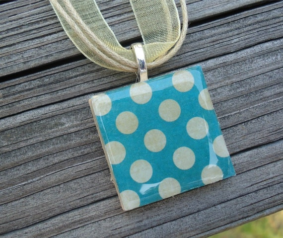 Teal with Tan Dots : A pendant charm necklace made from a wood square