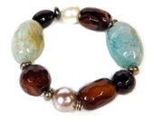 Agate, Tourmaline, Black Onyx, Shell Pearl, Haematite, Pyrite and Sterling Silver Stretchy Bracelet