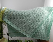 Beautiful Mint Green Hand Crocheted Baby Blanket
